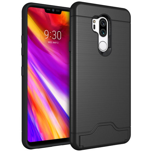 Dual Armour Tough Case & Card Slot Stand for LG G7 ThinQ - Black